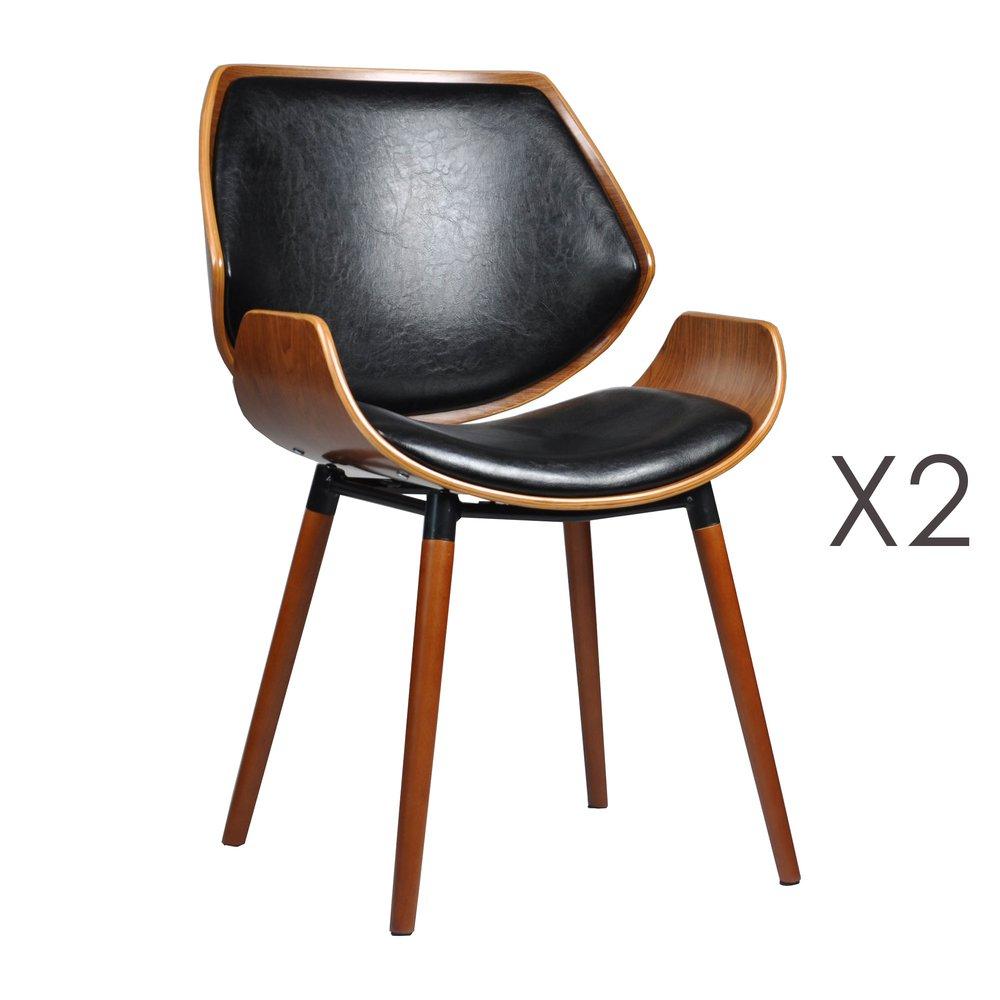 Chaise - Lot de 2 chaises 51,5x57,5x84 cm noir et marron - NAVY photo 1