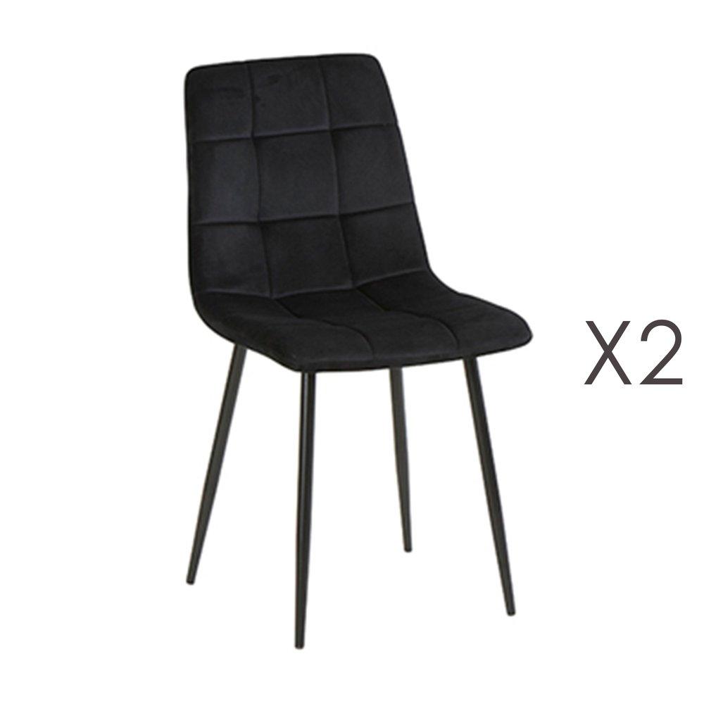 Chaise - Lot de 2 chaises 41x38x89 cm en velours noir - PUNTY photo 1