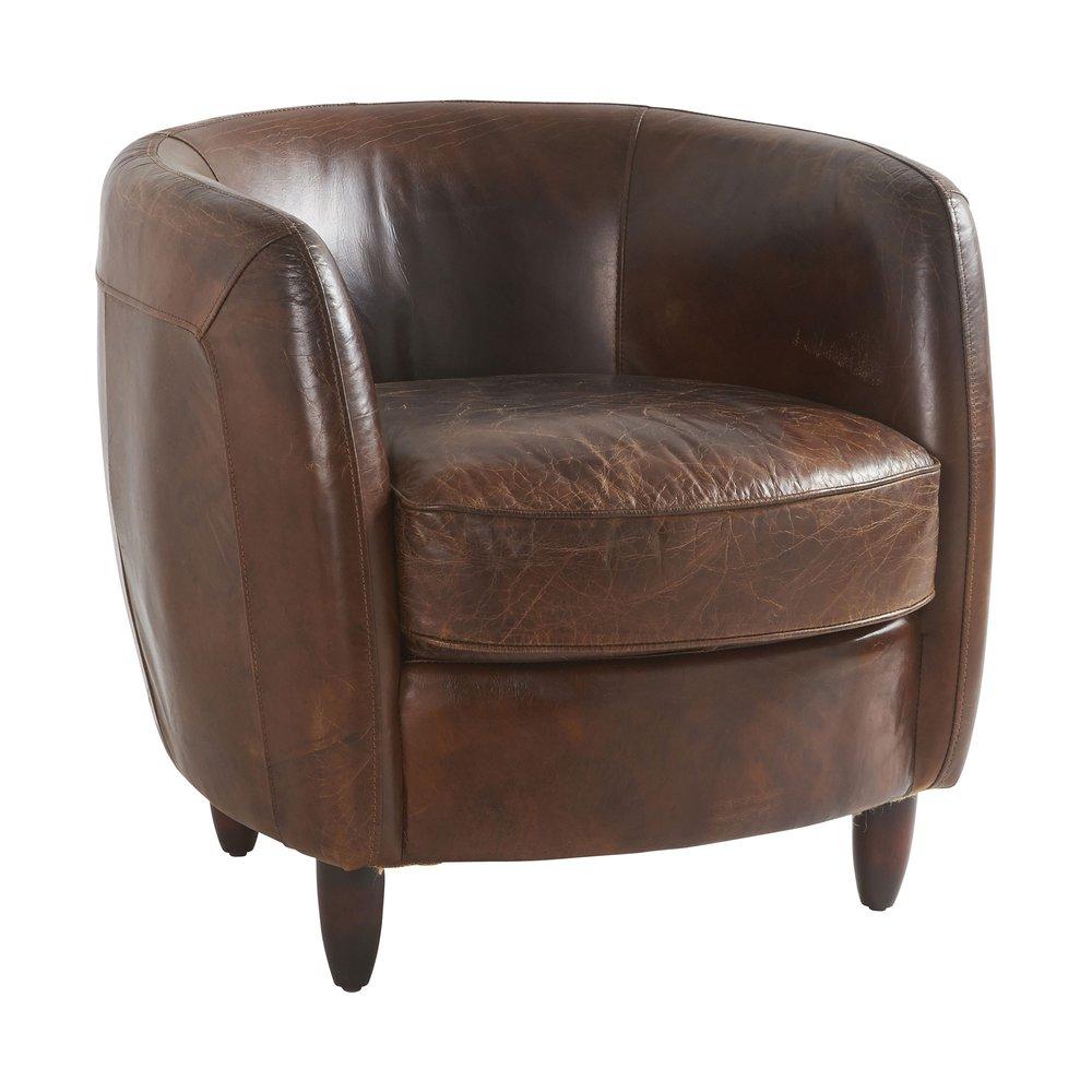 Fauteuil - Fauteuil 75x74x68 cm en cuir marron - RONDO photo 1