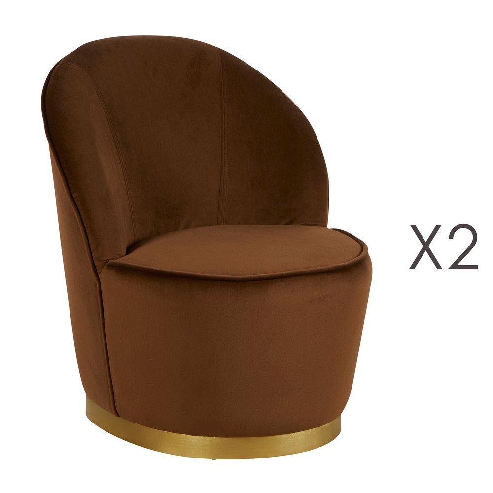 Fauteuil - Lot de 2 fauteuils 58x58x69 cm en velours marron - TIAGO photo 1
