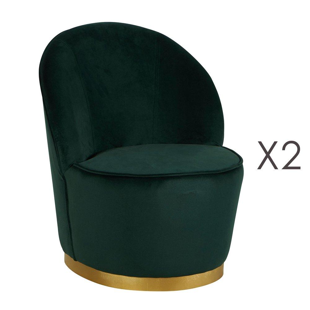 Fauteuil - Lot de 2 fauteuils 58x58x69 cm en velours vert - TIAGO photo 1