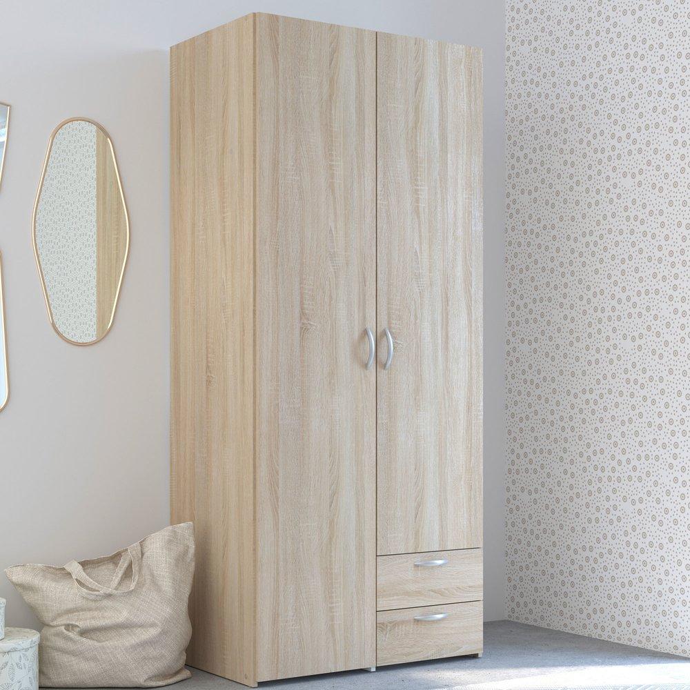 Armoire - Armoire 2 portes et 2 tiroirs chêne sonoma - KELSY photo 1
