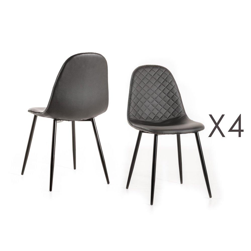 Chaise - Lot de 4 chaises repas 42x45x86 cm en PU noir et gris photo 1