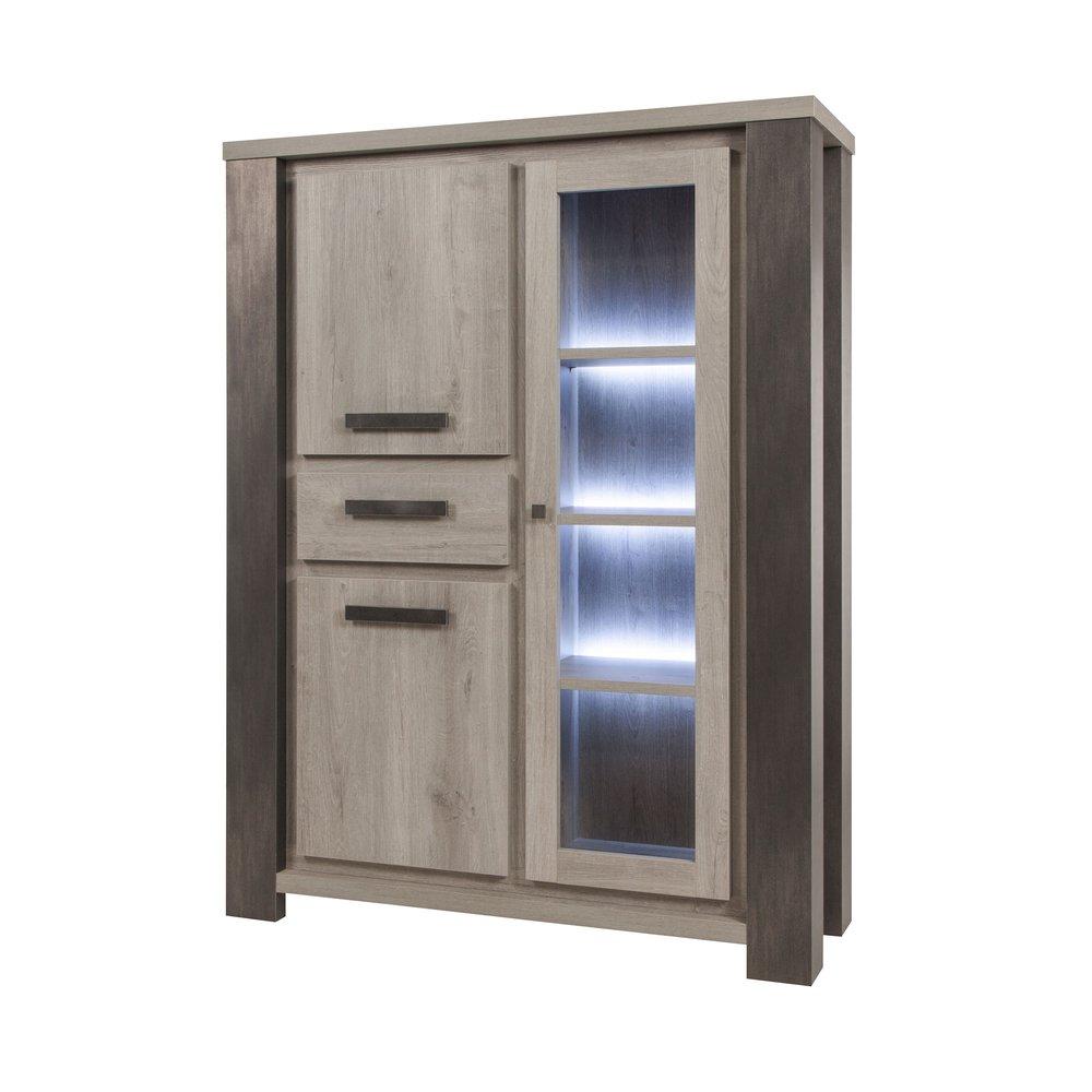 Buffet - vaisselier - Argentier 3 portes et 1 tiroir 132x48x175 cm chêne et noir - ROBIN photo 1