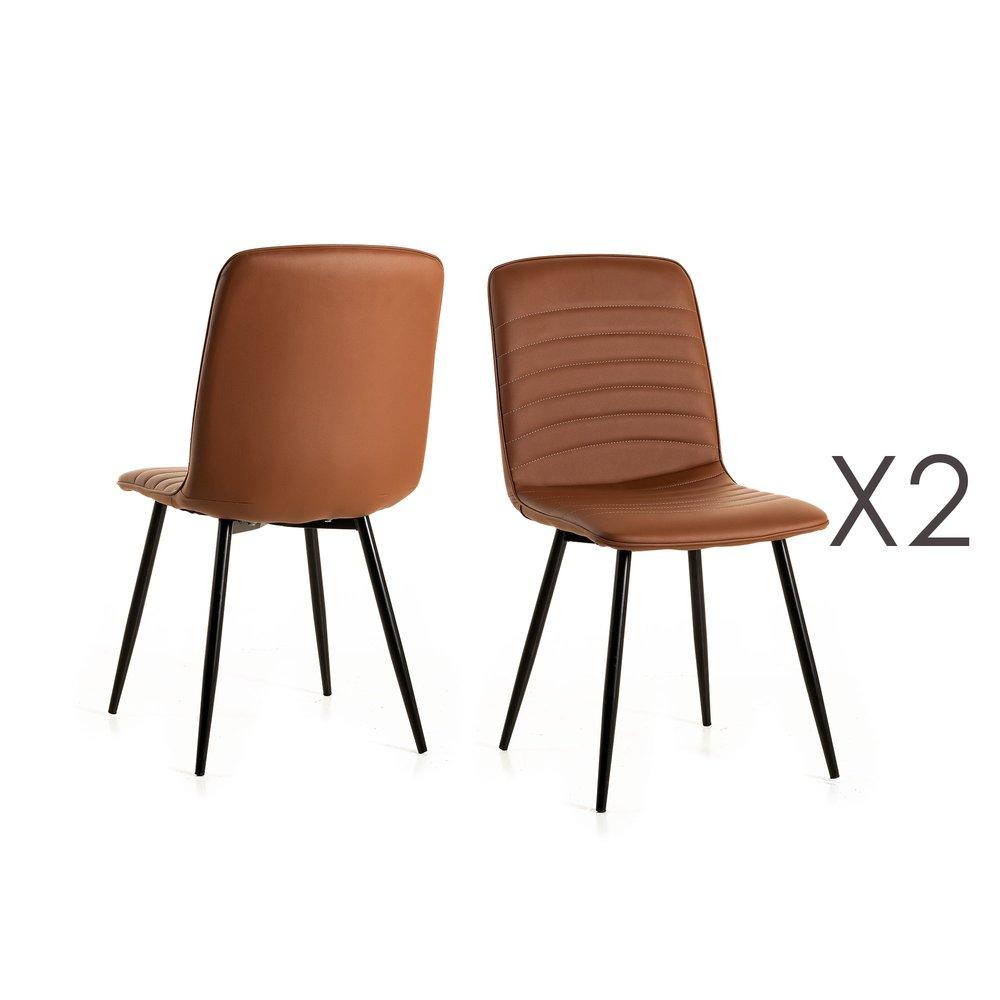 Chaise - Lot de 2 chaises repas 46x46x89 cm en PU camel photo 1