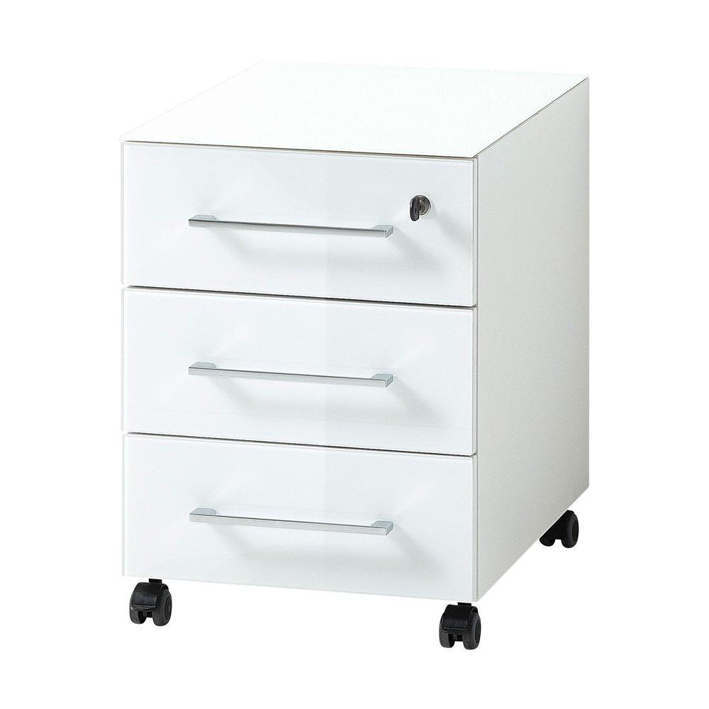 Bureau - Caisson 3 tiroirs à roulettes 40x50x55 cm blanc - FANCY photo 1