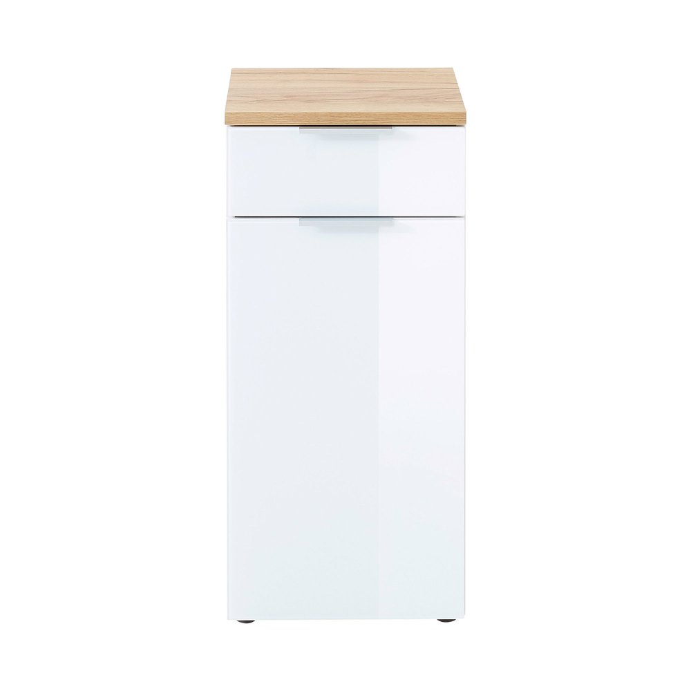 meuble de rangement 1 porte et 1 tiroir blanc et chene pesky