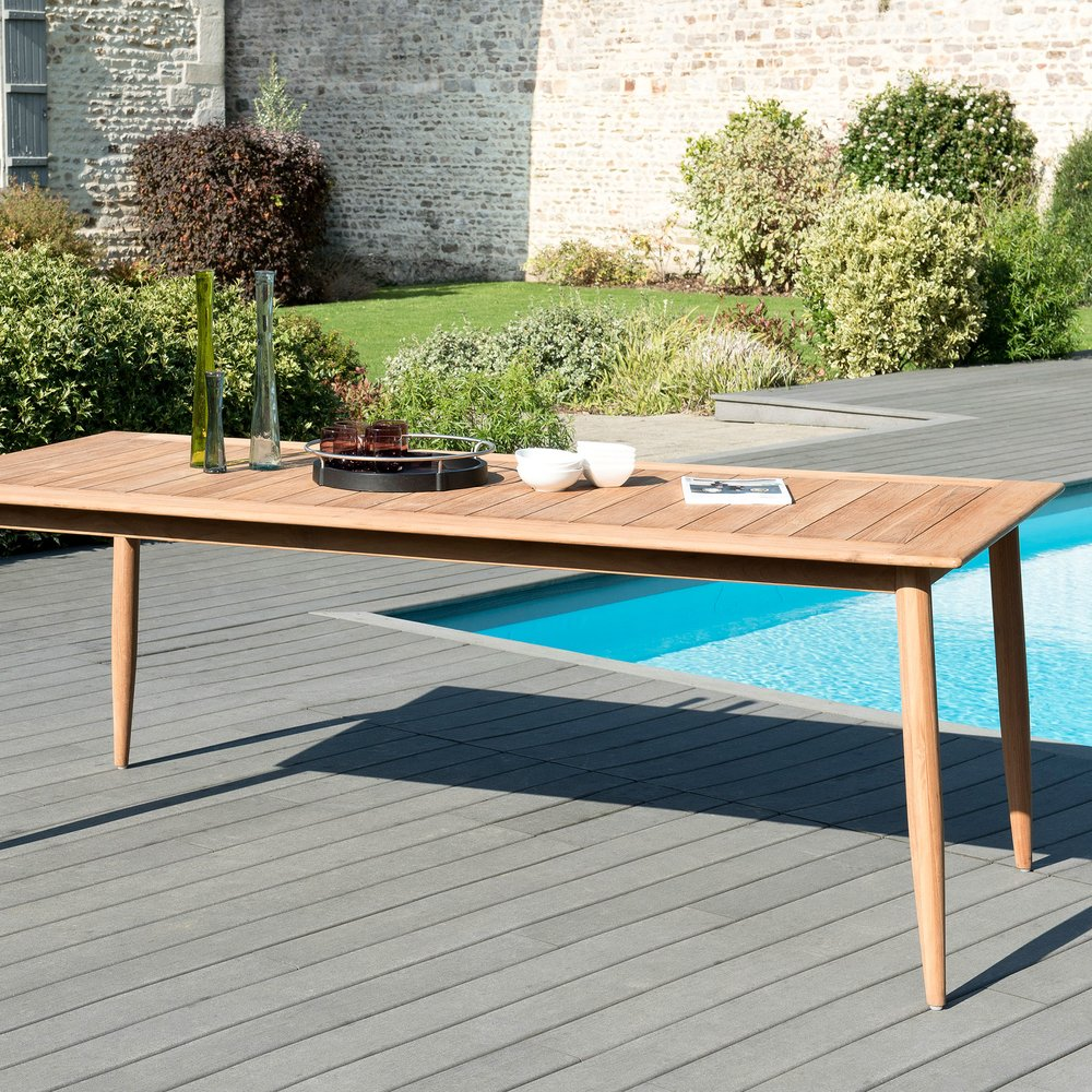 Meuble de jardin - Table de jardin 220x100x76 cm en teck - GARDENA photo 1