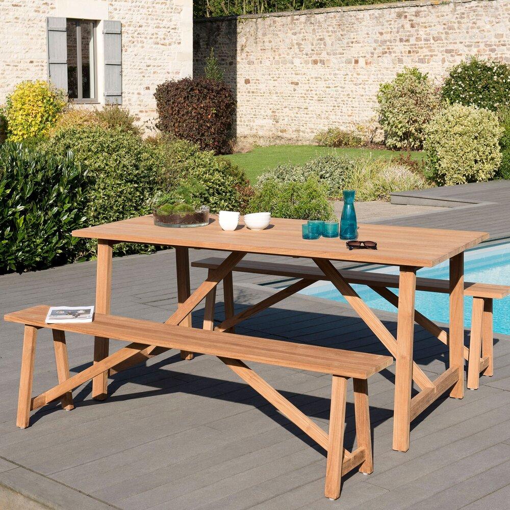 Meuble de jardin - Ensemble en teck table 180 cm + 2 bancs - GARDENA photo 1