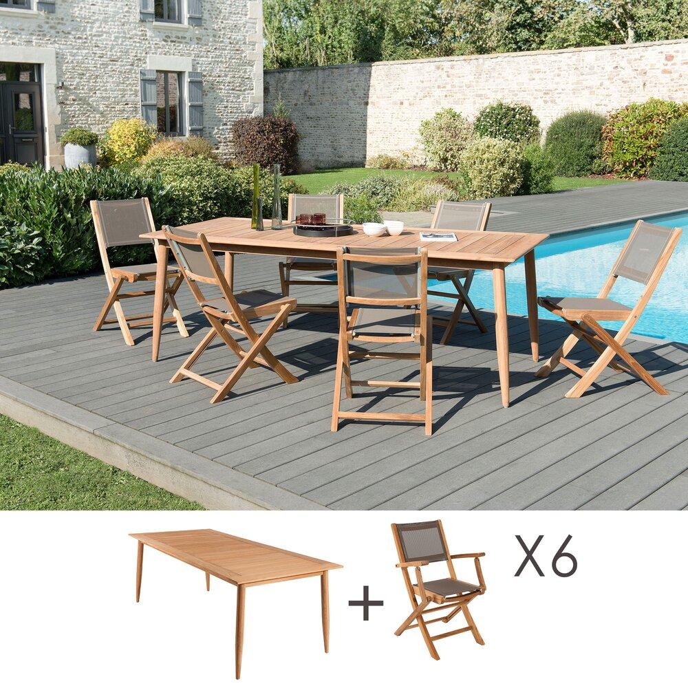 Meuble de jardin - Ensemble table 220 cm + 6 chaises en teck et textilène - GARDENA photo 1