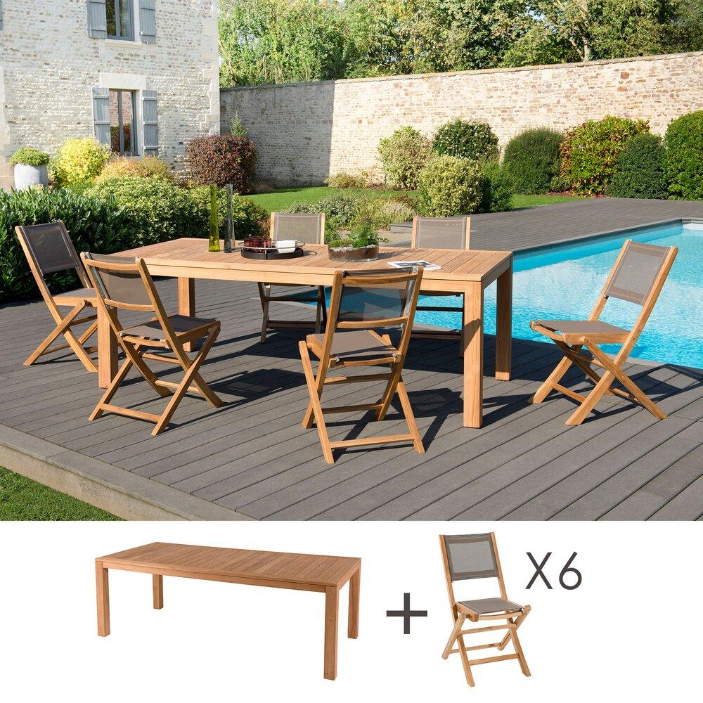 Meuble de jardin - Ensemble en teck table pieds carrés + 6 chaises pliantes- GARDENA photo 1