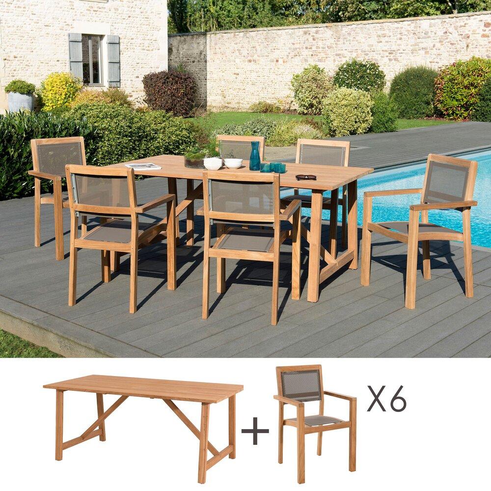 Meuble de jardin - Ensemble en teck table 180x90 cm + 6 fauteuils- GARDENA photo 1