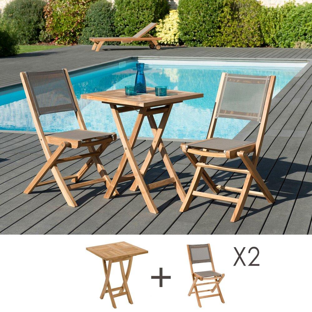 Meuble de jardin - Ensemble en teck table carrée 60x60 cm + 2 chaises pliantes - GARDENA photo 1