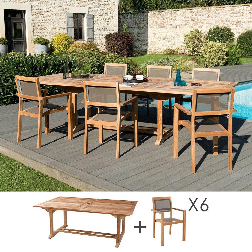 Meuble de jardin - Ensemble en teck table 200/300 cm + 6 fauteuils - GARDENA photo 1