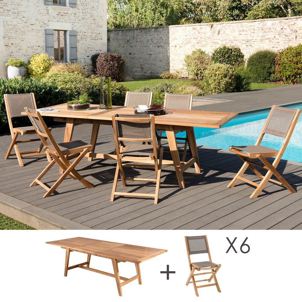 Meuble de jardin - Ensemble en teck table 180/240 cm + 6 chaises pliantes - GARDENA photo 1
