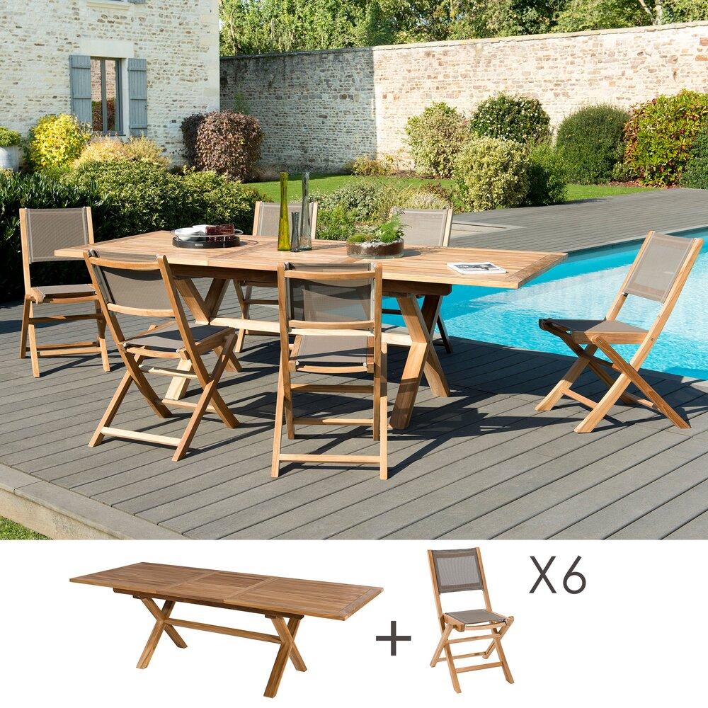 Meuble de jardin - Ensemble en teck table pieds croisés + 6 chaises pliantes - GARDENA photo 1