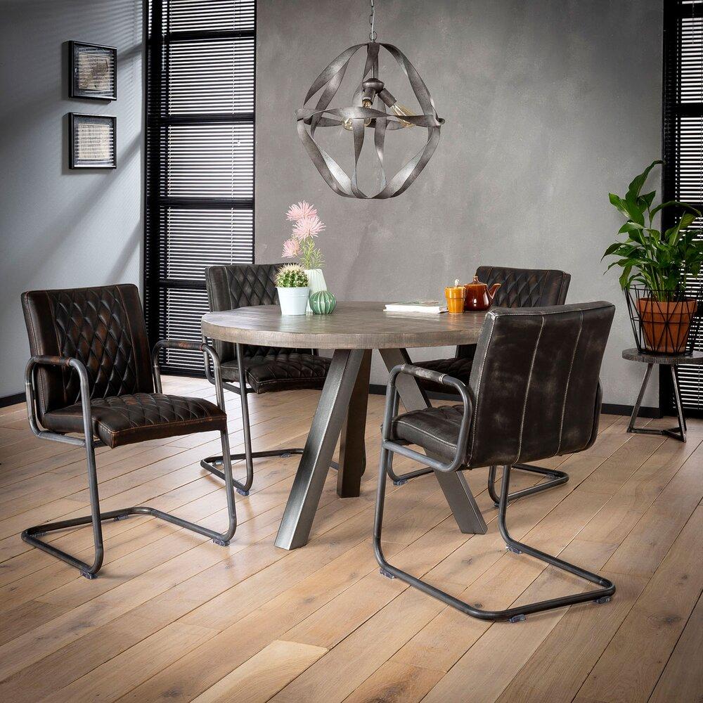 Table - Table ronde 120 cm en manguier massif grisé et acier - TRAPPY photo 1