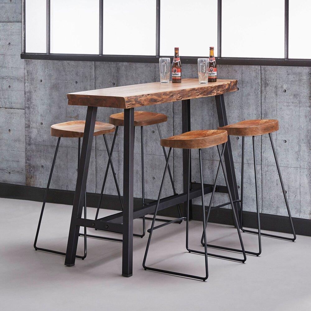 Table - Table de bar 125x46x92 cm en acacia massif photo 1