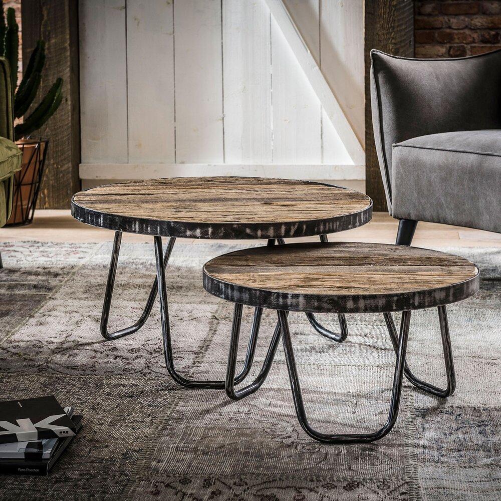 Table basse - Lot de 2 tables basses rondes 75 et 60 cm en bois et métal photo 1