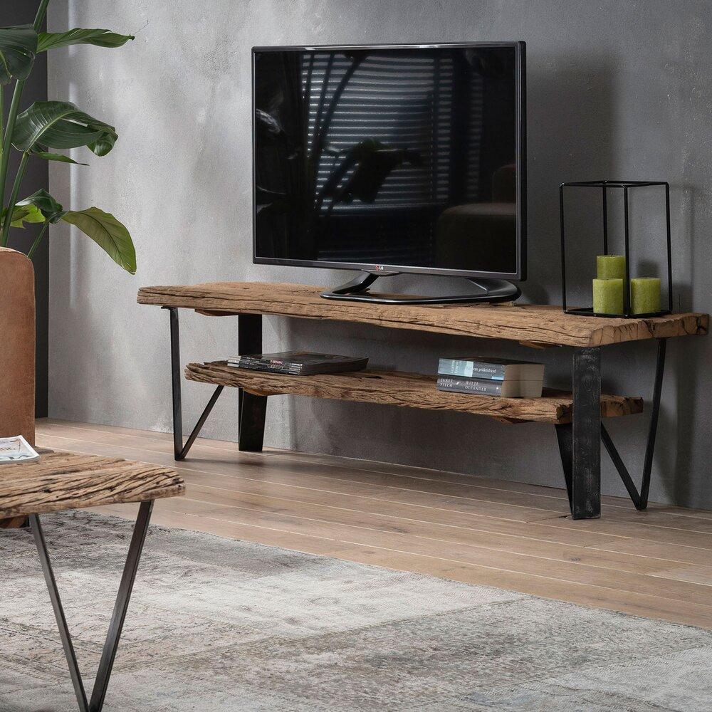 Meuble Tv 2 Etageres 160x40x45 Cm En Bois Recycle Et Metal Maison Et Styles