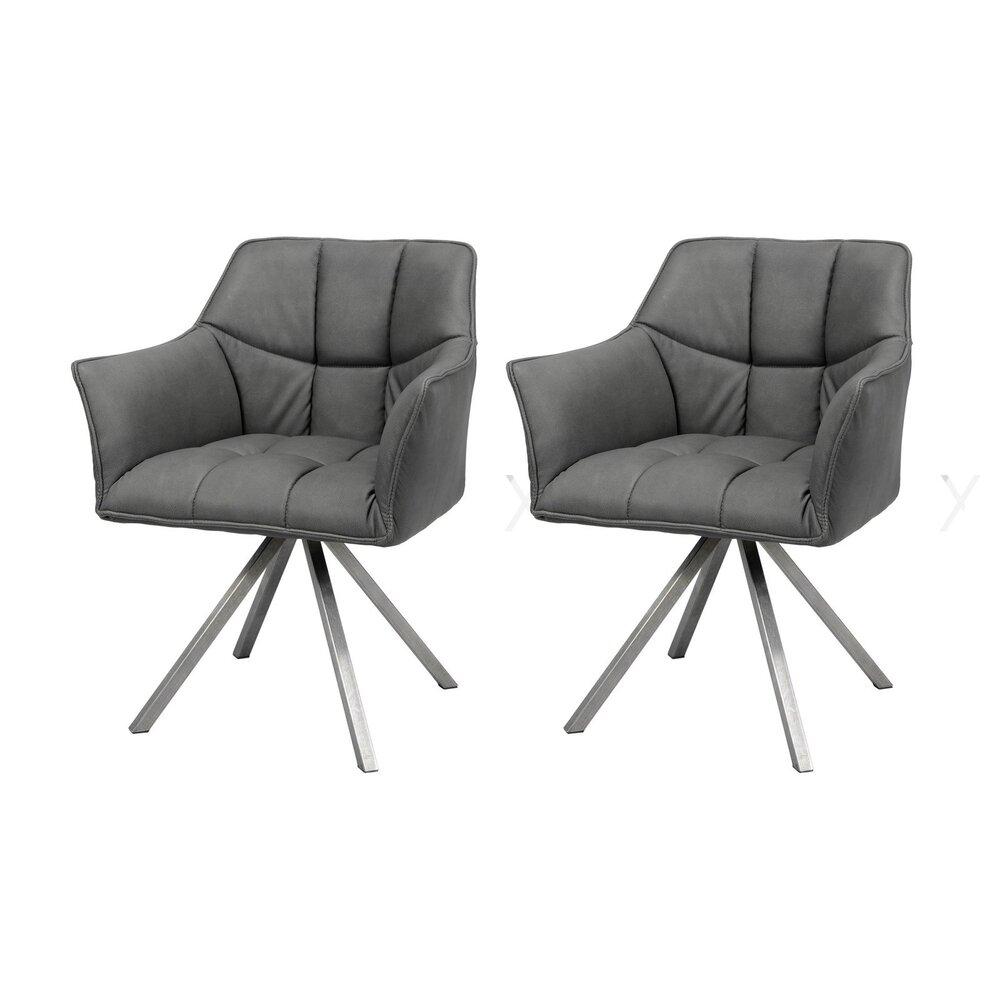 Chaise - Lot de 2 fauteuils 63x58x81 cm en tissu noir photo 1