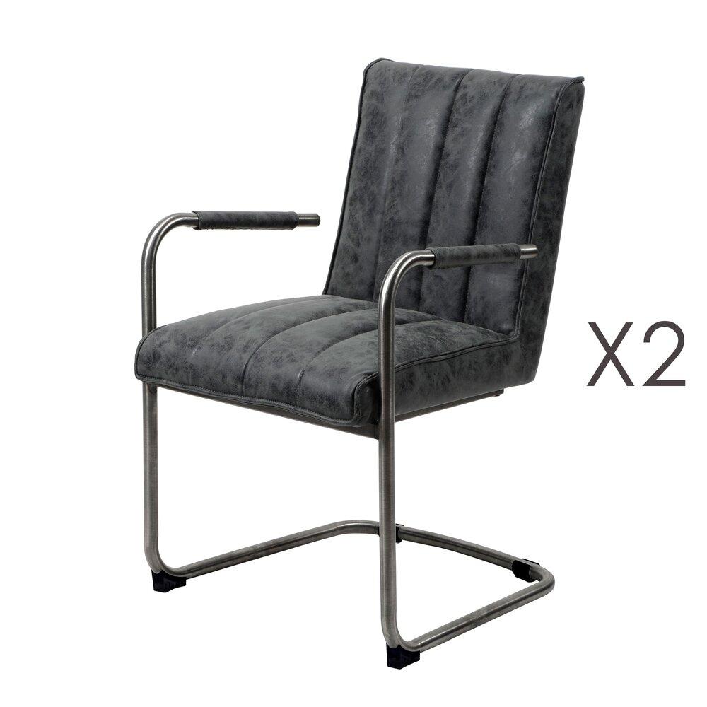 Chaise - Lot de 2 chaises 54x61x88 cm en PU patiné noir - ROXY photo 1