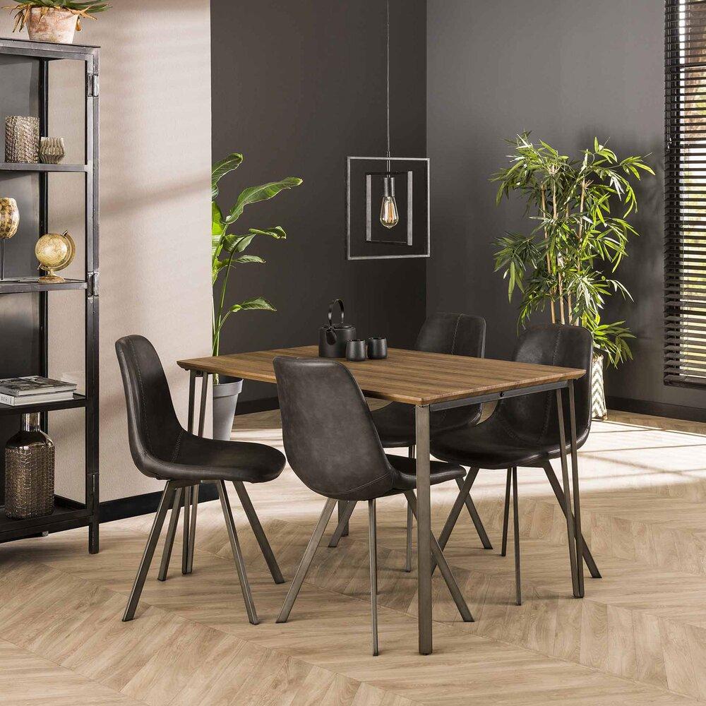 Table à manger 6 cm avec décor chêne brun - CLEO