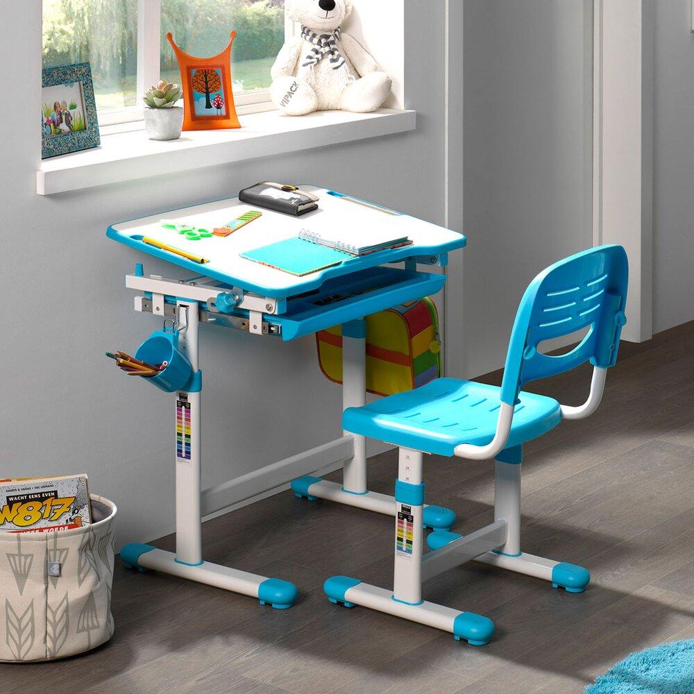 Chambre enfant - Bureau 66,4x47,4x54/76 cm et chaise blanc et bleu - LUFFY photo 1