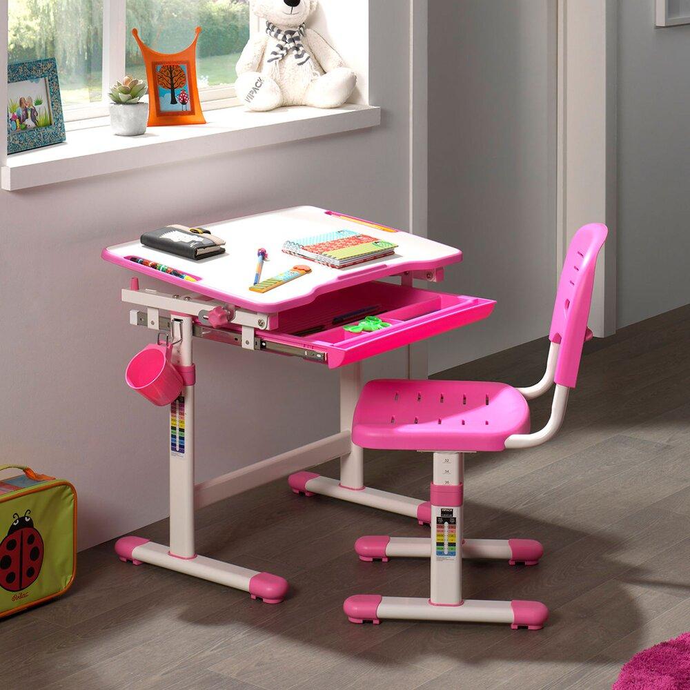 Chambre enfant - Bureau 66,4x47,4x54/76 cm et chaise blanc et rose - LUFFY photo 1