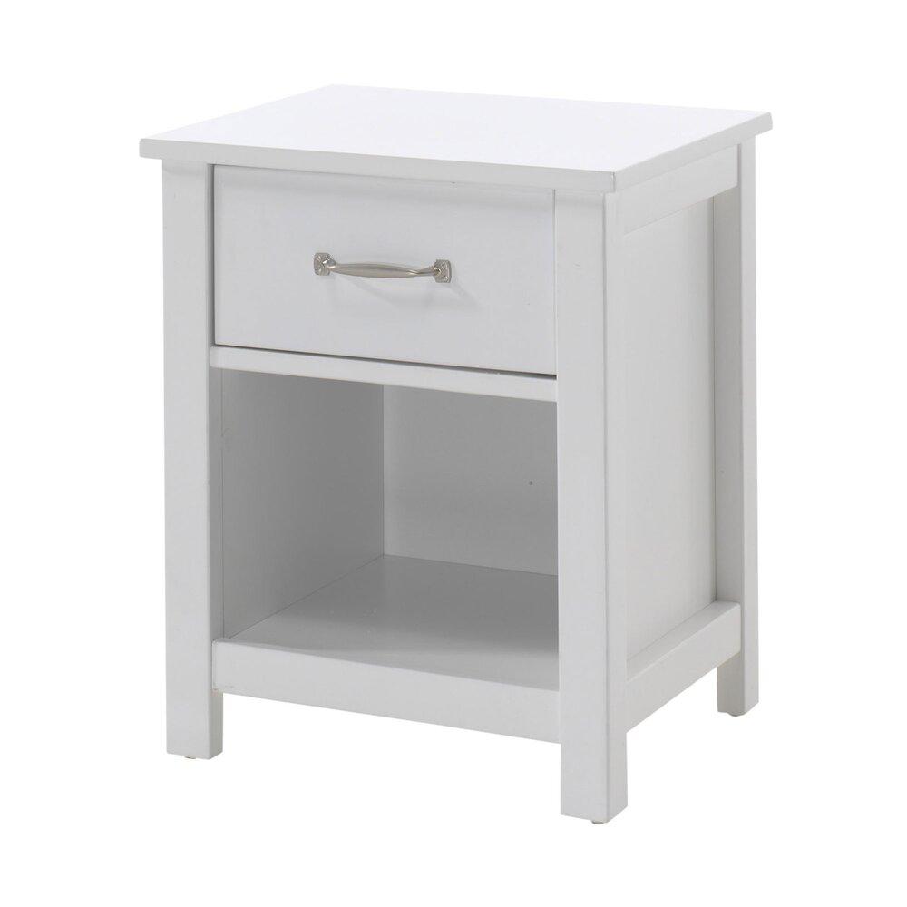 Chevet - Chevet 1 tiroir 45x40x55 cm laqué blanc - ABIGAEL photo 1