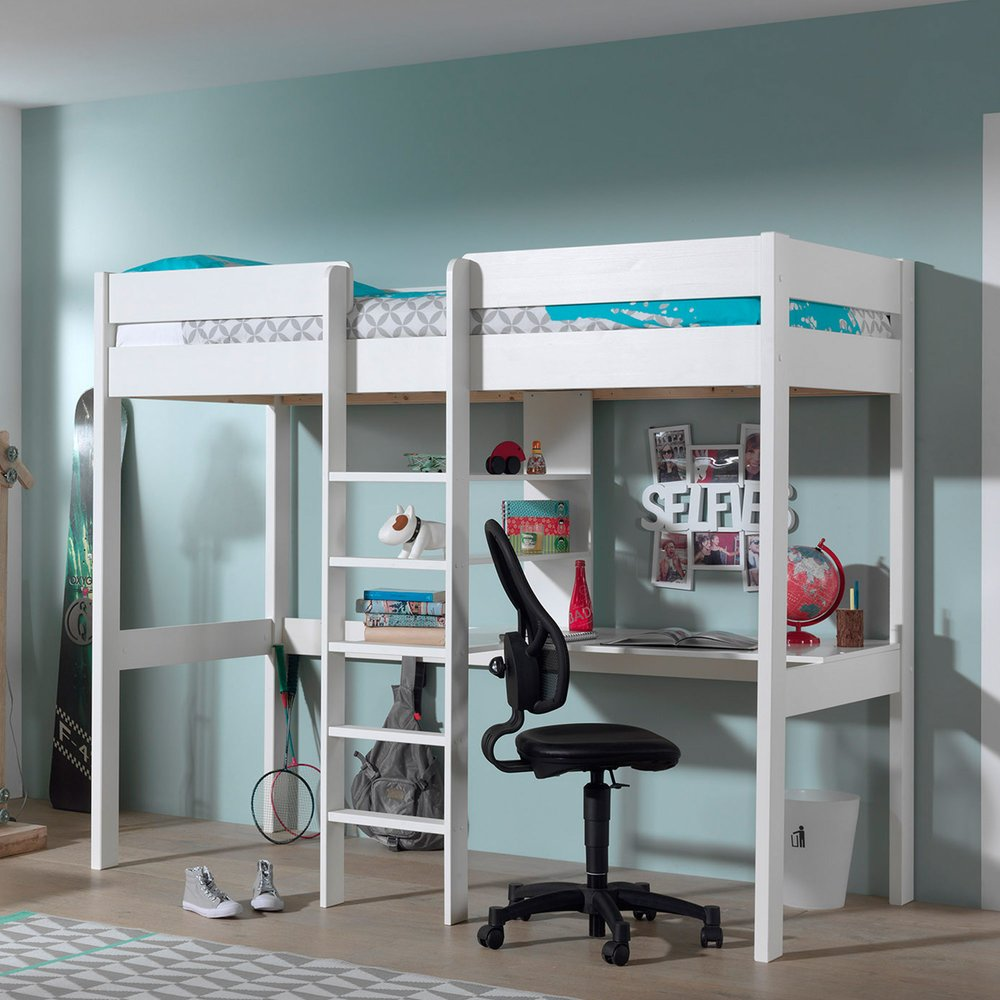Lit - Lit surélevé 90x200 cm échelle centrale et bureau blanc - PINO photo 1