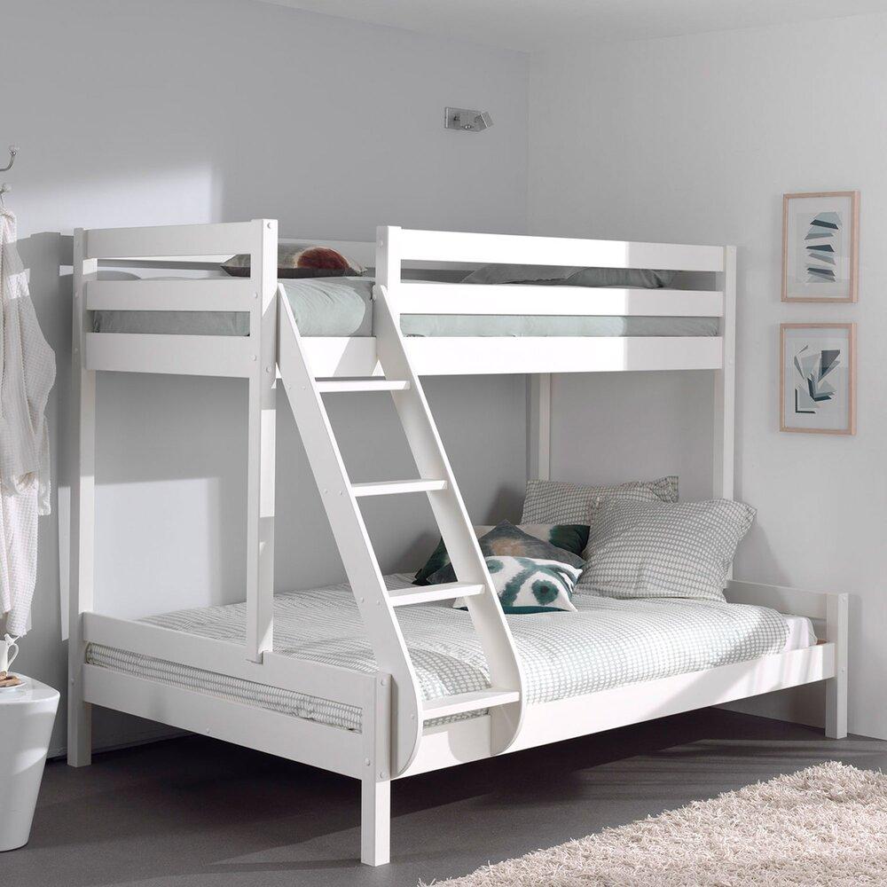 Lit enfant - Lit superposés couchages 90 et 140 cm blanc - PINO photo 1