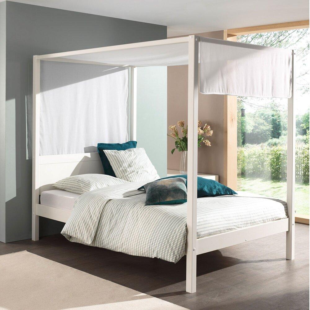 Chambre - Lit à baldaquin 140x200 cm blanc et voile blanc - PINO photo 1