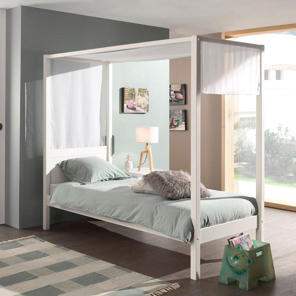 Chambre - Lit à baldaquin 90x200 cm blanc et voile blanc - PINO photo 1