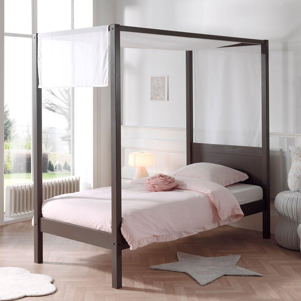 Chambre enfant - Lit à baldaquin 90x200 cm taupe et voile blanc - PINO photo 1
