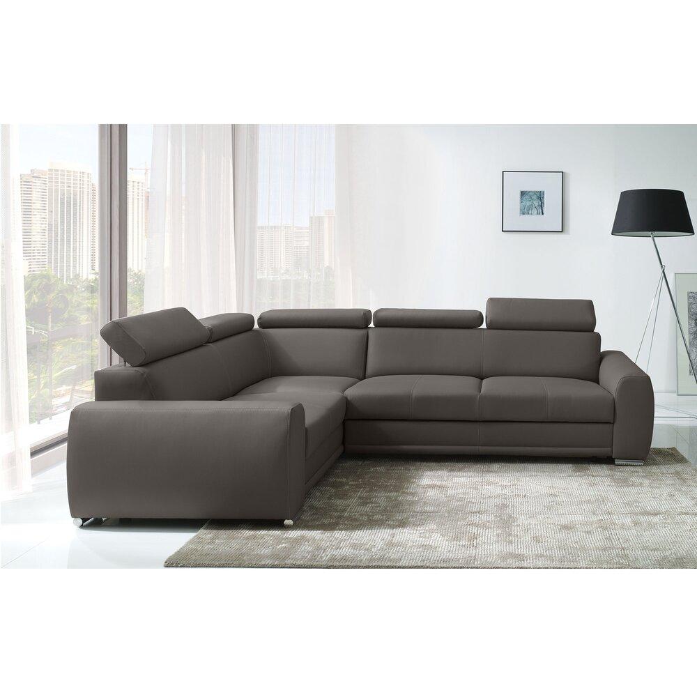 Canapé - Canapé d'angle à gauche convertible en tissu gris - MONY photo 1