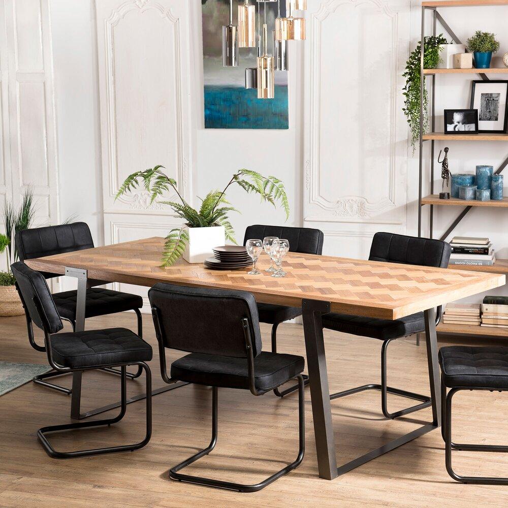 Rehausser Une Table De Salle A Manger table à manger 220x100x78 cm en sapin et métal - karly