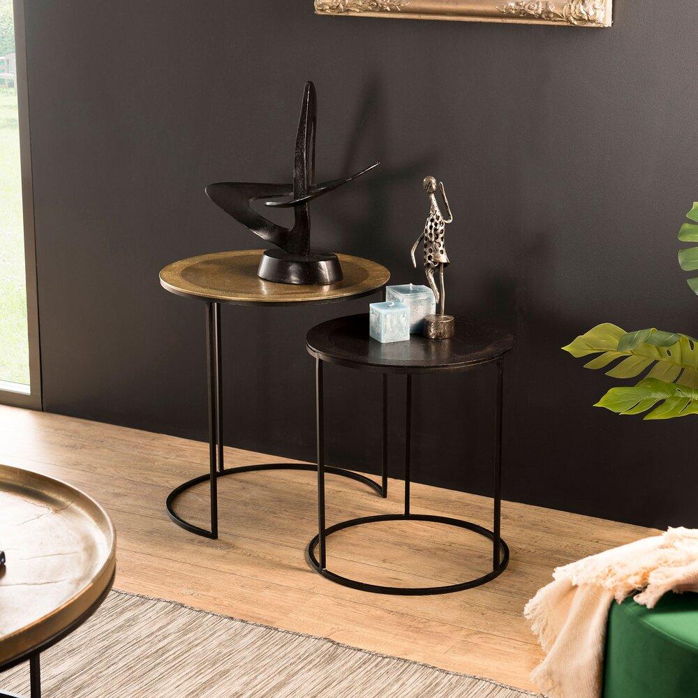 Table basse - Lot de 2 tables d'appoint rondes en aluminium doré et noir - JOSY photo 1