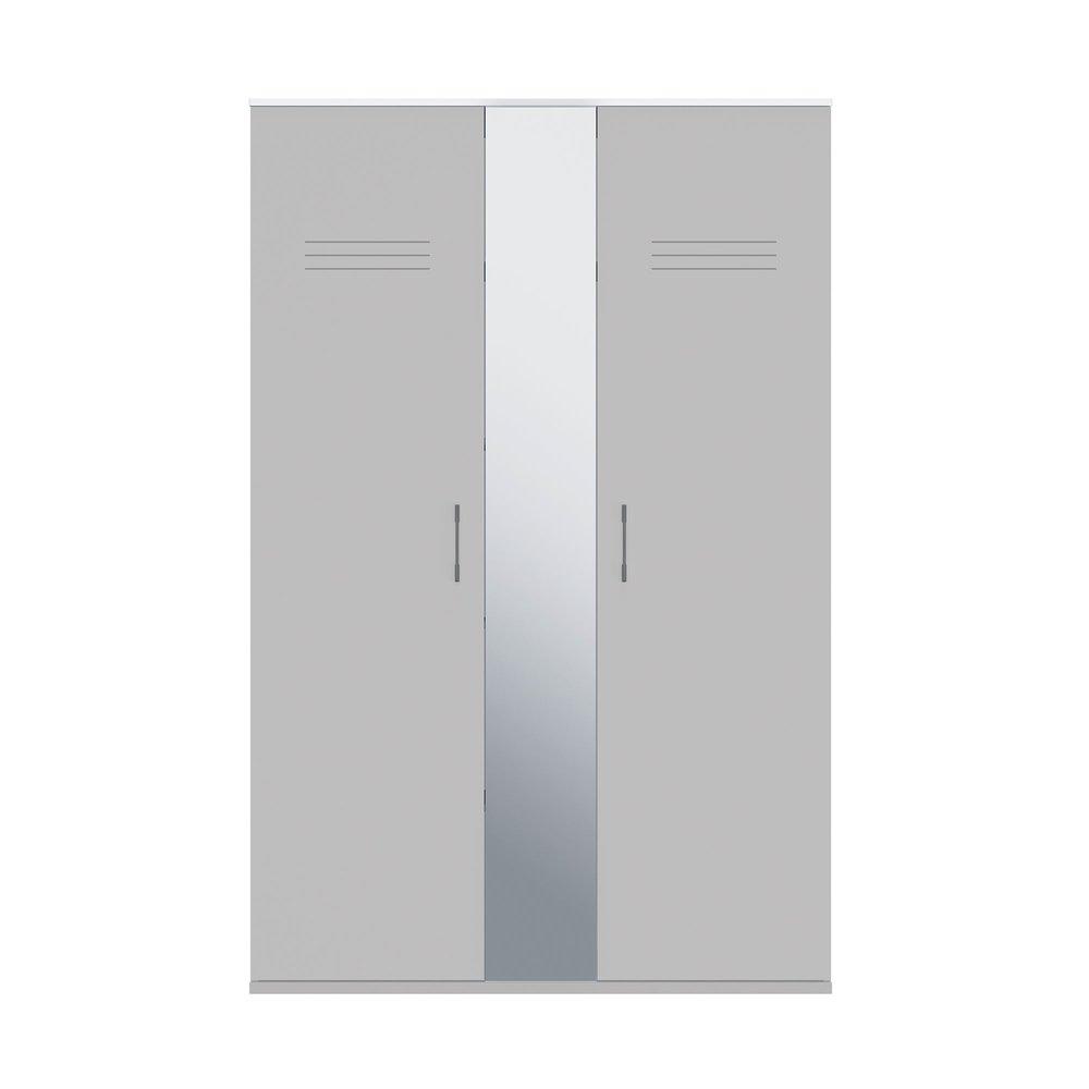 Armoire 2 Portes Avec Miroir Gris Et Blanc Hampton Maison Et Styles