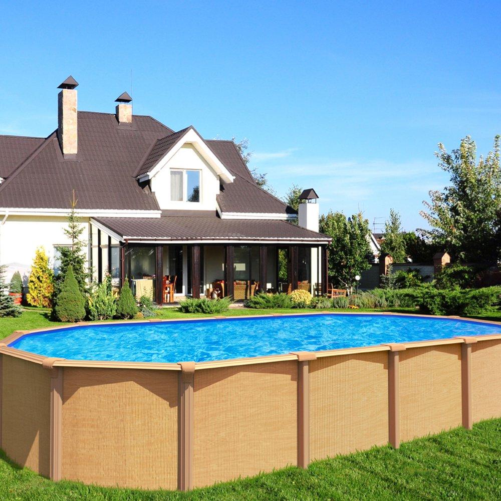 Piscine hors-sol acier aspect bois 10,10 x 10,10 m - OSMOSE