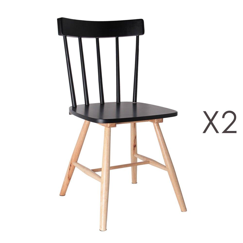 Chaise - Lot de 2 chaises bistrot noires et naturel photo 1