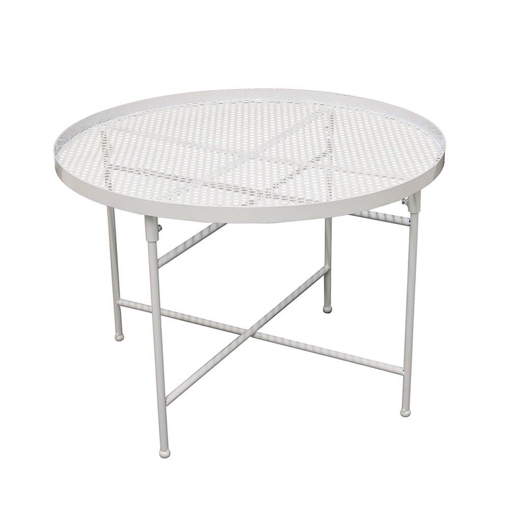 Table de jardin 50 cm en métal perforé blanc - PINTO ...