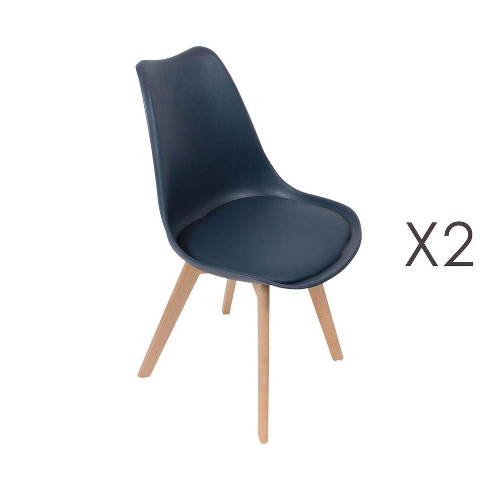 Chaise - Lot de 2 chaises repas bleues et pieds naturel - LUCIE photo 1