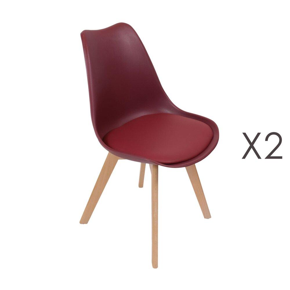 Chaise - Lot de 2 chaises repas bordeaux et pieds naturel - LUCIE photo 1