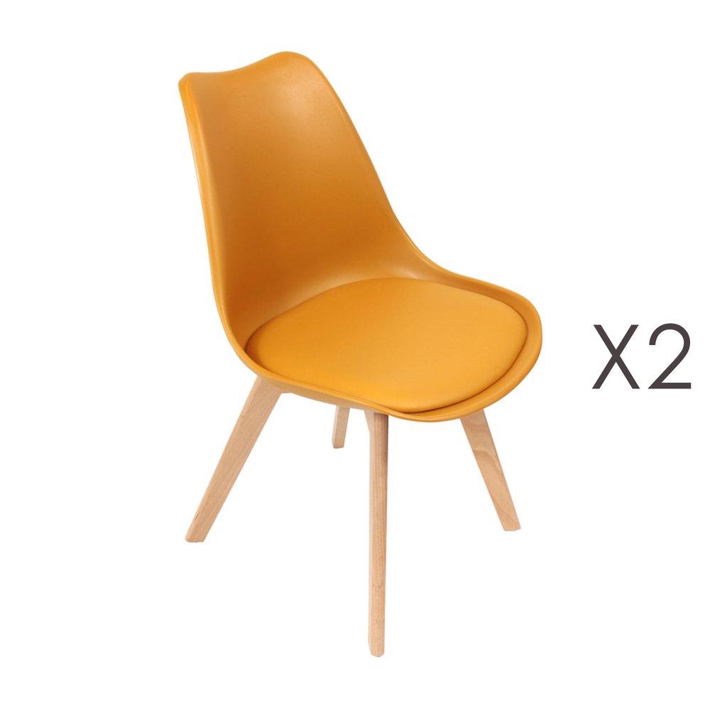 Chaise - Lot de 2 chaises repas jaunes et pieds naturel - LUCIE photo 1