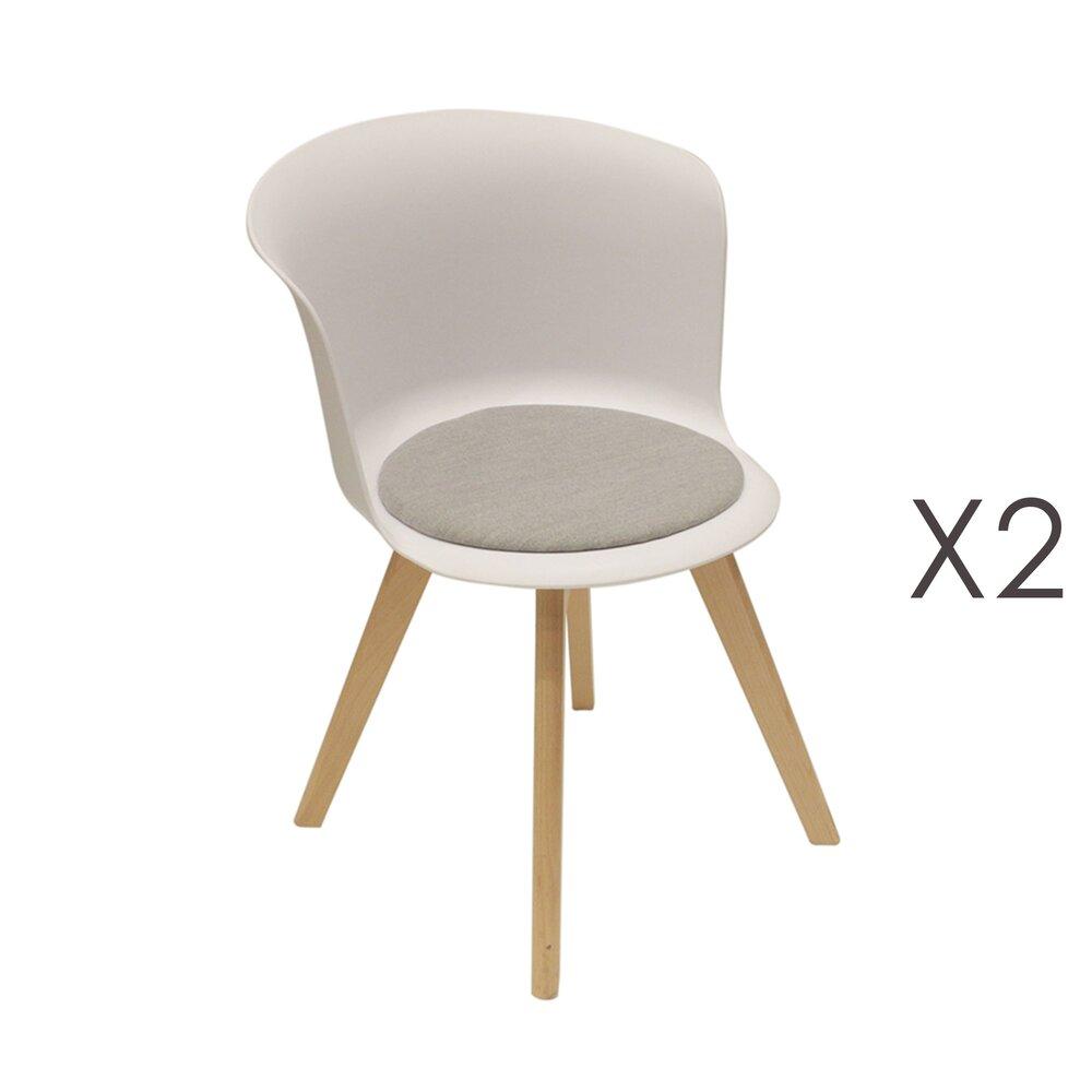 Chaise - Lot de 2 chaises repas blanches et assise grise - STOWE photo 1