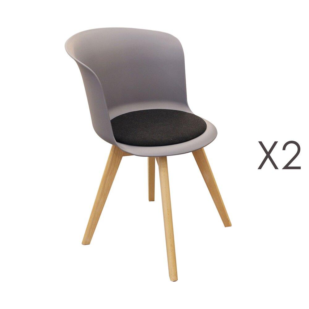 Chaise - Lot de 2 chaises repas grises et assise noire - STOWE photo 1