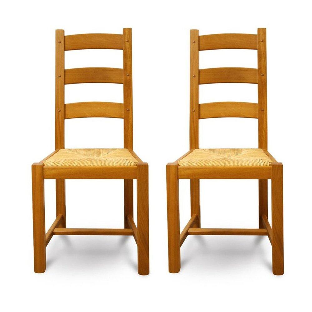 Chaise - Lot de 2 chaises en chêne moyen avec assise en paille photo 1