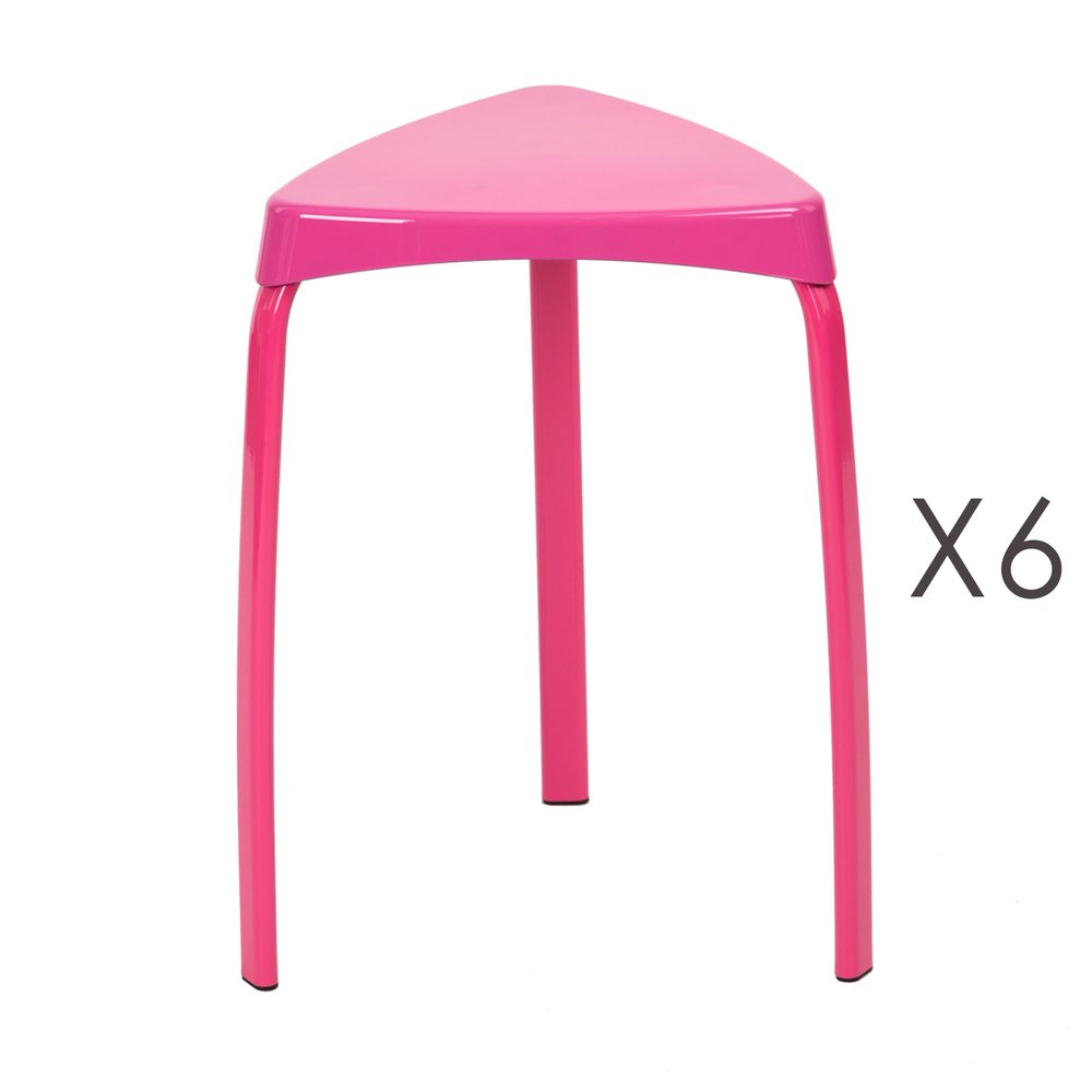 Tabouret - Lot de 6 tabourets 33x33x46 cm en métal rose - ATHYS photo 1
