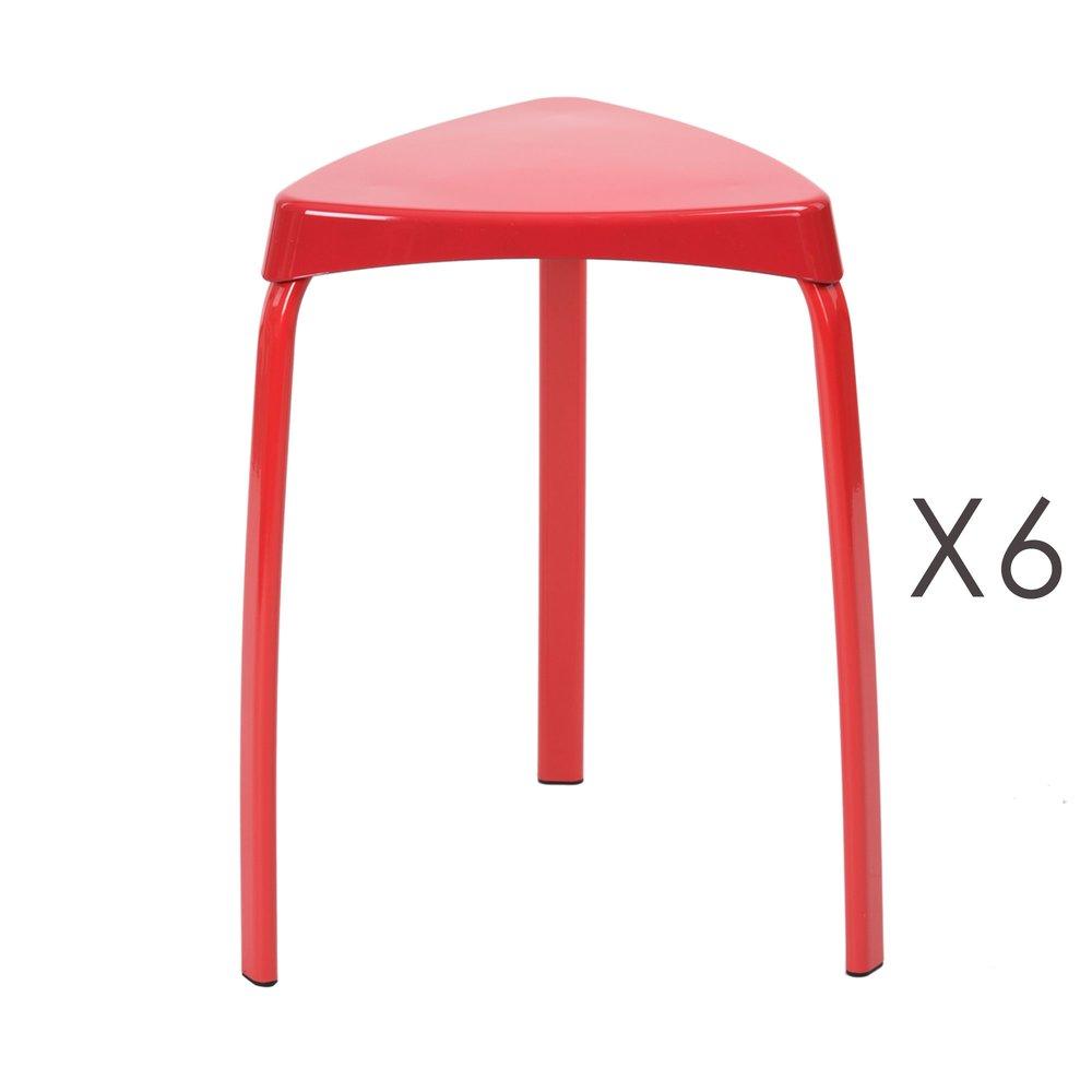 Tabouret - Lot de 6 tabourets 33x33x46 cm en métal rouge - ATHYS photo 1